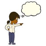 enthusiastische Frau der Karikatur, die mit Gedankenblase zeigt Lizenzfreies Stockfoto