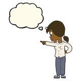 enthusiastische Frau der Karikatur, die mit Gedankenblase zeigt Lizenzfreie Stockfotos