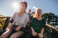 Enthusiastische junge Freunde auf Achterbahnfahrt Stockfoto