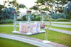 Entibación de la boda Decoración al aire libre del estilo del jardín Imagenes de archivo