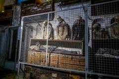Entierro en las catacumbas de los capuchones en Palermo sicilia imagen de archivo