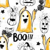 Entinte el modelo dibujado mano de Halloween con los caracteres del fantasma y de la calabaza Fotos de archivo libres de regalías