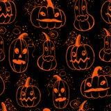 Entinte el modelo dibujado mano de Halloween con los caracteres de la calabaza Fotografía de archivo