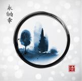 Entinte la pintura del lavado con los árboles forestales azules en círculo negro del zen del enso en el fondo que brilla intensam Imagen de archivo