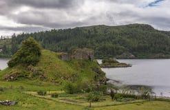 Entire Castle Strome ruins with Loch Carron, Scotland. Stock Image