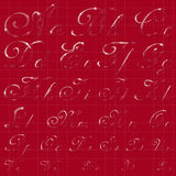 The Entire English Alphabet. Performed in Cursive Calligraphic Style. Imitation of Glass or Ice Transparency. Ideal for Winter Lettering. EPS 10 vector Stock Images