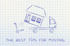 Entire house being loaded on truck, the best tips for moving Stock Photos