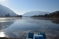 An entire lake completely frozen - Lake Endine - Bergamo - Italy. An entire lake completely frozen - Lake Endine - Bergamo - Lombardy - Italy 0013 Royalty Free Stock Images