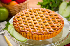 Entire whole apple pie tart modern delicious beautiful clean dessert Stock Images