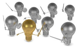 Entirely golden light bulb fighting against many silver ones with swords and shields. On white Stock Image