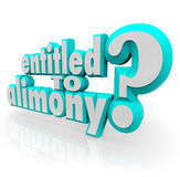 Entitled to Alimony 3d Words Legal Question Divorce Attorney Law Stock Image