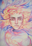 Entity. A person being in the waves of energy royalty free illustration