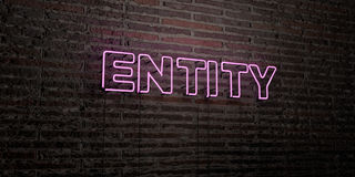 ENTITY -Realistic Neon Sign on Brick Wall background - 3D rendered royalty free stock image Stock Photography