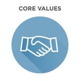 Entkernen Sie Wert-Ikone mit Händedruck/den Rüttelnhänden Lizenzfreies Stockbild