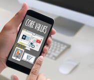 ENTKERNEN Sie WERTE, Geschäft, Internet und Technologie KERN-WERTE legen herein stockbilder