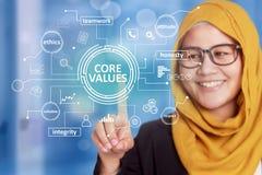 Entkernen Sie Werte, inspirierend Motivzitate der Geschäftsmoral, Worttypographiekonzept stockbild