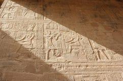 Entlastungen auf den Wänden des Tempels von Edfu Egypt Stockbild