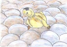 Entlein, das auf den Eiern, zeichnend sitzt lizenzfreie abbildung