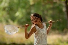 Entomólogo de la chica joven Foto de archivo