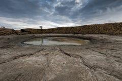 Entonnoir de la saleté dans le strelka d'Arabatskaya, Crimée Images libres de droits