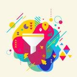 Entonnoir sur le fond repéré coloré abstrait avec l'EL différent illustration de vecteur