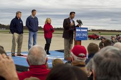 The Entourage. Bobby Jindal and gang at Romney Victory Rally 2012 Royalty Free Stock Photography