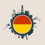 Entourez avec le port de cargaison et voyagez les silhouettes relatives Drapeau d'Ostende Image libre de droits