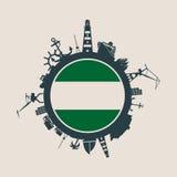 Entourez avec le port de cargaison et voyagez les silhouettes relatives Drapeau de Rotterdam Image libre de droits