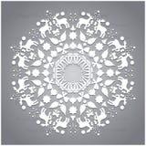 Entourez l'ornement, modèle géométrique ornemental rond, décoration de flocon de neige de Noël Images stock