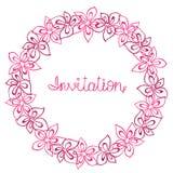 Entourez le cadre, la guirlande des fleurs rouges et roses, la carte de voeux, la carte postale de décoration ou l'invitation Images stock