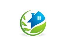 Entourez le logo à la maison d'usine, construction de logements, architecture, vecteur de conception d'icône de symbole de nature