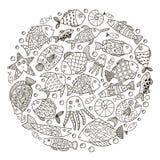 Entourez le modèle de forme avec des poissons d'imagination pour livre de coloriage Photo stock