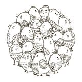 Entourez le modèle de forme avec les oiseaux mignons pour livre de coloriage illustration libre de droits