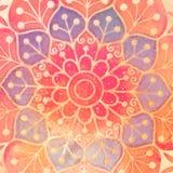 Entourez le symbole indien spirituel décoratif de la fleur de lotus photographie stock