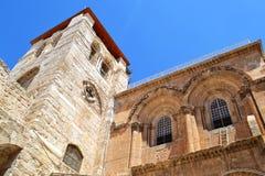 Entrée à l'église de la tombe sainte Patio et la façade principale l'Israël Jérusalem photos libres de droits