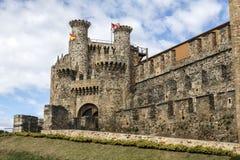 Entrée à la maison ou principale de château de Templar à Ponferrada, le Bierzo Images stock