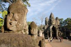 Entrée Ain d'Angkor Thom, Cambodge Photographie stock libre de droits