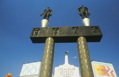 Entrée au Colisé commémoratif de Los Angeles, Los Angeles, la Californie images libres de droits