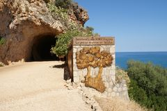 Entrée au parc de réservation de Zingaro, Sicile, Italie Photo stock