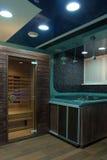 Entrée au sauna Photographie stock