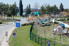 Entrée au territoire de l'aéroport de Burgas en Bulgarie Photographie stock