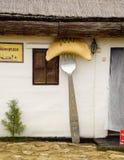 Entrée au wagon-restaurant dans le musée ethnique du village d'Ataman dans Kuban image stock