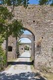 Entrée avec la passerelle de voûtes du château enrichi Photo stock