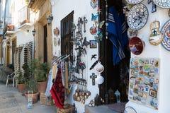 Entrée de boutique de souvenirs espagnole traditionnelle Photographie stock