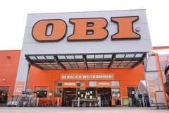 Entrée de centre du commerce d'OBI Image libre de droits