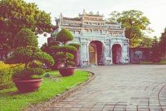 Entrée de citadelle Royal Palace impérial de dynastie de Nguyen dedans images libres de droits