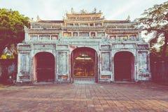 Entrée de citadelle Royal Palace impérial de dynastie de Nguyen dedans image libre de droits