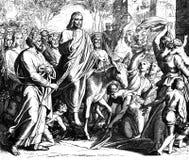 Entrée de dimanche de paume par Jésus Photo libre de droits