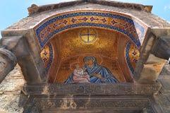 Entrée de l'église de Panaghia Kapnikarea Images libres de droits