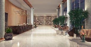Entrée de lobby avec le secteur de réception et de salon Photographie stock